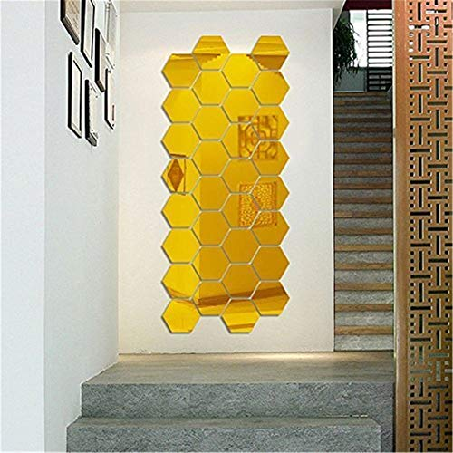 Hexagon Mirror Wall Stickers, 12PCS Mirror Art DIY Home Decorative 3D Hexagonal Acrylic Mirror Wall Sheet Plastic Mirror Tiles for Home Living Room Bedroom Sofa TV Setting Wall Decoration (Gold)