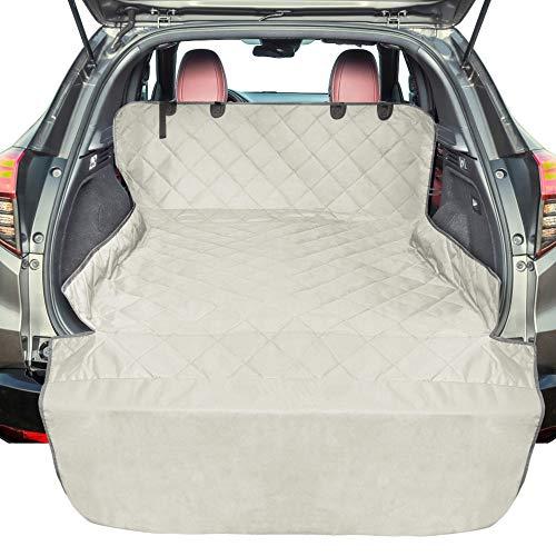 F-color SUV Cargo-Liner für Hunde, wasserdichte Haustier-Abdeckung für Hundesitz, SUVs, Limousine, Vans mit Stoßstangen-Schutzfolie, rutschfest, Größe L, universell passend, beige