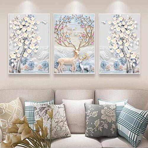 Geiqianjiumai eenvoudig modern reliëf Europese abstracte voordelige boom Nordic decoratief schilderij 3 panelen olieverfschilderij muurschilderij kunstwerk