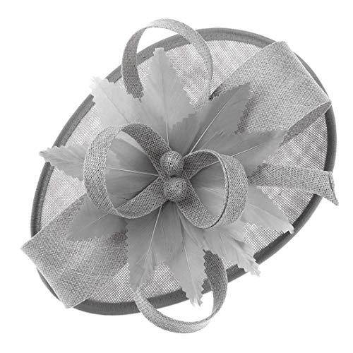 Cerchietto da donna, leggero e alla moda, con fiore in sinamay, per matrimoni o cocktail Royal Blue Medium