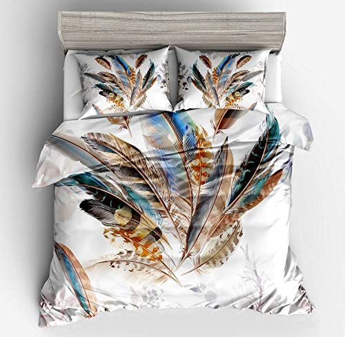 Abojoy Feathers Boho Chic Bedding Rustic Floral Mandala Duvet Cover Set Queen Size, Bohemian Native American Symbol Colorful Decorative 3 Piece Bedding Set with 2 Pillow Shams(Queen, Style1)