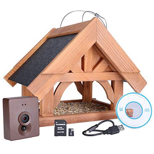 Maginon VK F1 Vogelhaus, Vogel-Futterstation mit Kamera aus nachhaltig zertifiziertem Holz (FSC)