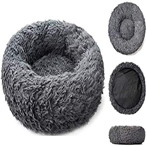 Extra Large Jumbo Cave Dog Bed Grey Plush Wicker Donut Cushion xl Medium Crate Pad Fluffy Heated Mattress Cosy Calming Sleep Basket Orthopedic XXL Anti Anxiety Fluffy Cuddler ZZAY