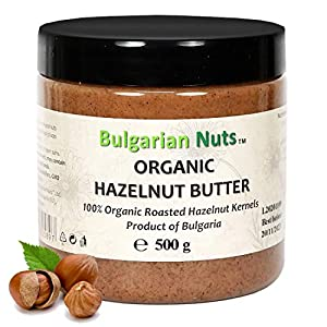 500 g Mantequilla integral de avellana orgánica de 100% de núcleos de avellana, sin sal, sin azúcar, sin aditivos, sin conservantes, nada más que mantequilla de avellana, vegana y saludable