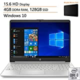 2020 Newest HP 15 15.6' Laptop Computer, 10th Gen Intel Core i3 1005G1 Up to 3.4GHz (Beats i5-7200u), 4GB DDR4 RAM, 128GB SSD, 802.11AC WiFi, Bluetooth 4.2, Silver, Windows 10, iPuzzle Mousepad