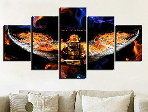 HJIAPO Poster 5 pannelli Leinwanddruck Fire Angel Wings Poster moderno Wohnkultur Schlafzimmer Wandkunst Dekor 150 x 80 cm