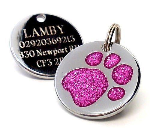 Placa de identificación para perro, grabado personalizado, diseño de huella de perro con purpurina, de 25mm-