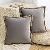 HAUSEIN Juego de 2 fundas de cojín de terciopelo, estilo pastoral, monocolor, decorativas, suaves y cómodas, para salón, dormitorio, sofá (45 x 45 cm, gris)