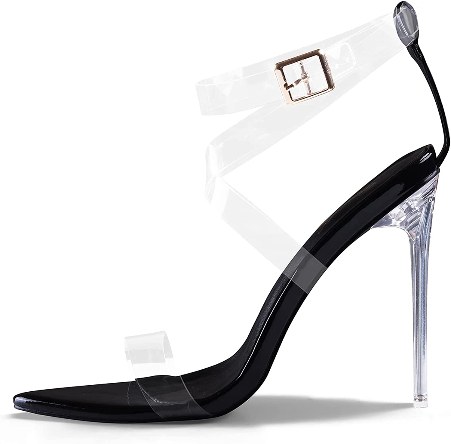 GENSHUO Women Clear Heeled Sandals,Transparent Cross Ankle Strap High Heels Sandals Pointed Open Toe Stilettos Party Club Sandals Shoes