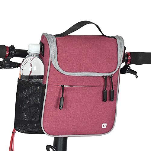 KNFBOK qianxia Transportkorb für Haustiere, Lenkertasche für Fahrrad, faltbar, wasserdicht, multifunktional, Tasche für Vorderrad, hohe Kapazität, Rot