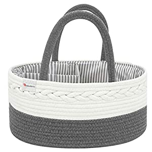 Celesto Baby Diaper Caddy Organizer – Nursery Storage Bin – Car Organizer for Diapers – Changing Table Organizer Basket – Shower storage Gift – Cotton Canvas Portable Diaper Storage Basket (Grey)