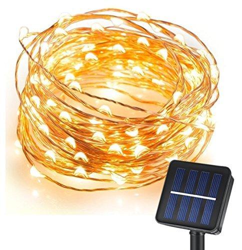 CMYK® Guirlande Lumineuse10M/33FT 120 led Ampoule ronde Veilleuse decore avec Panneau Solaire pour Arbre de Noel, Plante d'exterieur et interieur