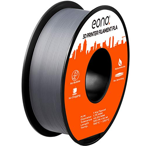 Eono by Amazon 3D Printer PLA Filament, Tangle-Free with 0.03 mm Dimensional Accuracy, 1.75 mm, 1 kg Spool, Grey