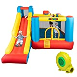 JOYMOR Bounce House Little Kids Inflatable Bouncing Castle Play Center w/ Air Blower Pump, Slide Bouncer