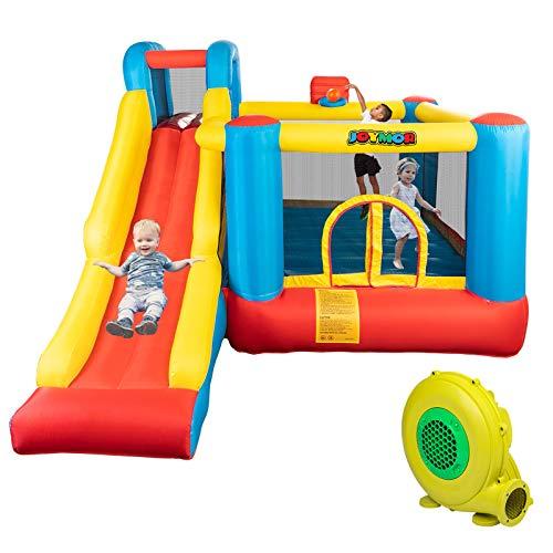 JOYMOR Bounce House Little Kids Inflatable Bouncing Castle Play Center w/ Air Blower Pump, Slide Bouncer