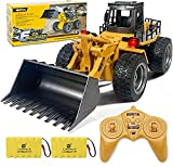 Remote Control Bulldozer Toys 1:18 Hobby RC Trucks Caterpillar Aluminum Alloy Rc Front Loader 4WD for 4-15 Years Old Boys Kids Birthday Christmas Gift