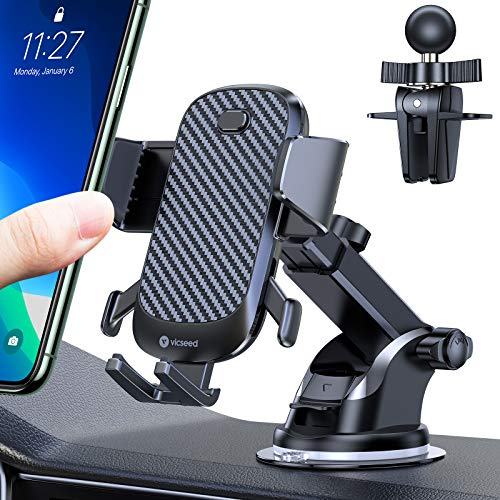 VICSEED Cell Phone Holder for Car Quick Lock Car Phone Mount Holder Hands-Free Dashboard Windshield Air Vent Strong Suction Car Cell Phone Mount Fit for iPhone 12 SE 11 Pro Max Galaxy Note20 & All