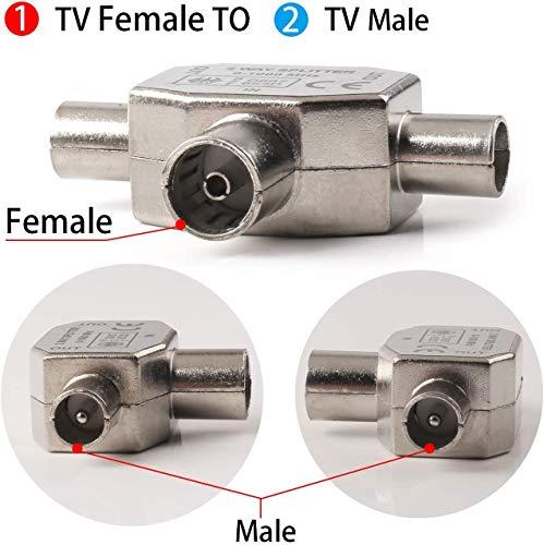 RUNCCI-YUN Répartiteur d'antennes en T - Distributeur antenne 2 Voies - 2X Prise coaxial pour DVB-T/BK - 0-1000 MHz - Coupleur Alimentation TV