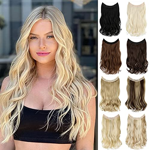 Felendy Halo Hair Extensions Thick Curly Wavy Invisible Wire Extension Fish Line Clip in Hairpiece Hidden Crown for Women 18 Inch Bleach Blonde