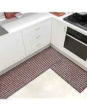 Color & Geometry Juego de Alfombrillas de Cocina Antideslizantes de 2 Piezas, alfombras de Barrera con Respaldo de Goma, Alfombra Absorbente y Lavable para Cocina (44x75cm + 44x200cm, Marrón)