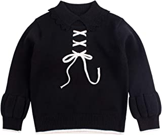 Peecabe Toddler Baby Boys Girls Winter Clothes Lace Up Knitted Cardigan Lace Collar Sweater Warm Pullover Top