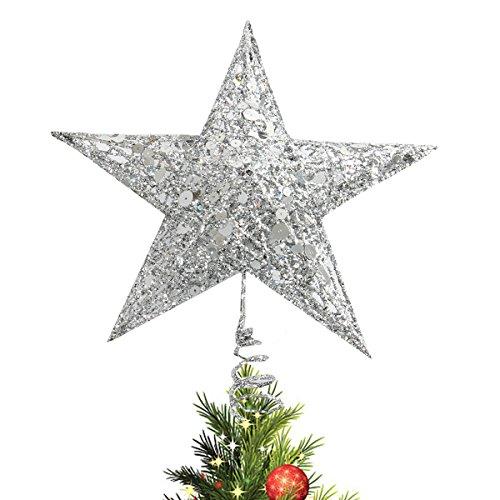 CUSFULL Estrella Plateada de Árbol Navidad Decoración para Navidad Blanca con Lentejuelas para Copa de Árbol...