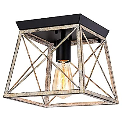 Pauwer Industrial Flush Mount Ceiling Light Farmhouse Rustic Metal Cage Close to Ceiling Lighting Fixture Faux Wood Paint