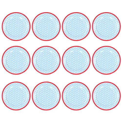 01 Plato de Comida, Plato de Ensalada de vajilla para Sala de Descanso para Dormitorio para Sala de Estar para Cocina(Light Blue Dots)