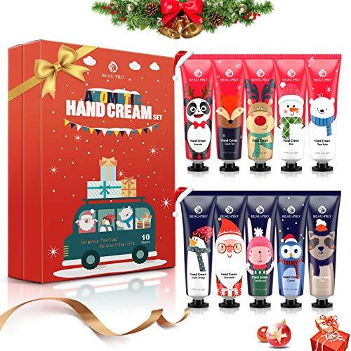 Handcreme Geschenkset, 10Pcs Parfümierte Feuchtigkeitsspendend Handcreme für Sehr Trockene Rissige Hände, Feuchtigkeitscreme Pflegecreme, Handcreme Set Weihnachten Geschenk für Männer Frauen Kinder