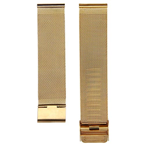 DALIANMAO Straps de Acero inoxidable12mm 14mm 16mm 18 mm 20 mm 22 mm 24 mm 24 mm Metal de Acero Inoxidable de Acero Inoxidable Universal Pulsera de Correa (Band Color : Gold, Band Width : 16mm)