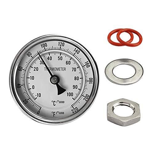 Shenxay 3 Dial Termómetro homebrew analógico Kit 2 Sonda 0-220 grados Cerveza artesanal Vino de caldera con arandelas de anillo tórico