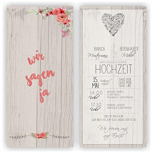 Einladung zur Hochzeit I Wir sagen Ja - Holzoptik I HO-021 Einladungskarte (10 Stück)