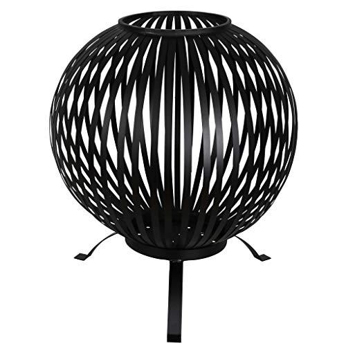 Vigleco Feuerkorb Ball Gestreift Schwarz Kohlenstoffstahl FF400