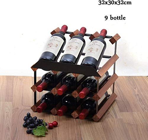YLongfei - Botellero de madera para vino, metal, acero, madera, 9 bottle