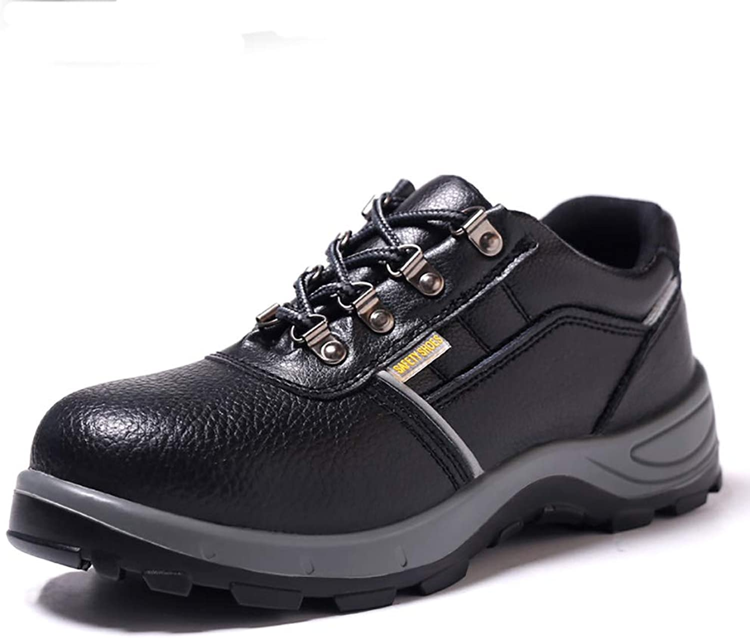 ZYFXZ safety shoes Men's full leather work shoes, anti-smashing lightweight steel toe cap work shoes work boots (Size   38)