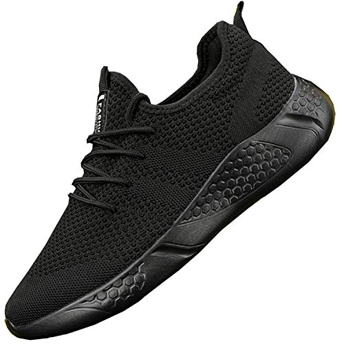Zapatillas de Running para Hombre Casual Tenis Asfalto Zapatos Deporte Fitness Gym Correr Gimnasio Deportives Transpirables Seguridad Atlético Trekking Bambas Plataform Sneakers Negro 43 EU