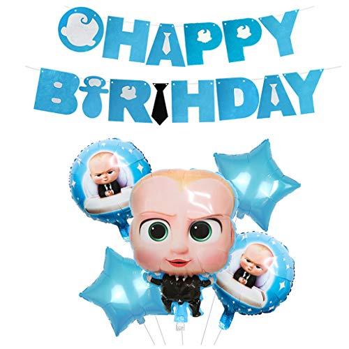 TOYS Jefe Bebé Feliz Cumpleaños Fiesta Feliz Cumpleaños Banner Globo De Papel De Aluminio para Niño/Niña Niños Baby Shower Decoraciones De Fiesta De Cumpleaños