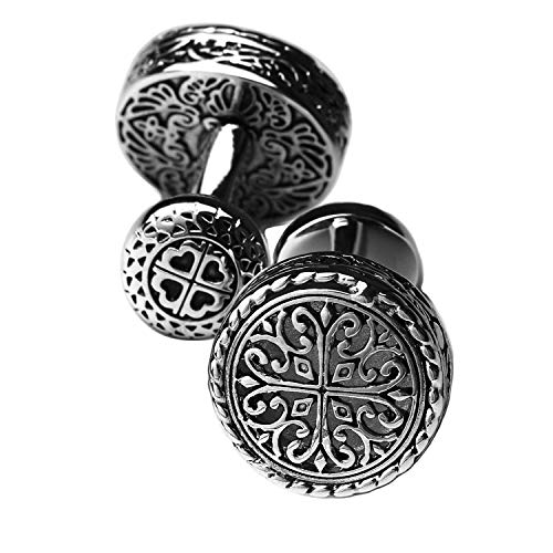 GENYA Cufflinks for Mens Vintage Design Handcrafted Hollow Carved Irish Celtic Cross Knot Fixed Backing cuff links Sliver and Black