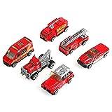 Oyunngs 6pcs/Set Mini Modelo de vehículo, 1:64 Escala de aleación y plástico Fire Rescue Car Toy Kids Gift, para bebés Habilidades de motricidad Fina