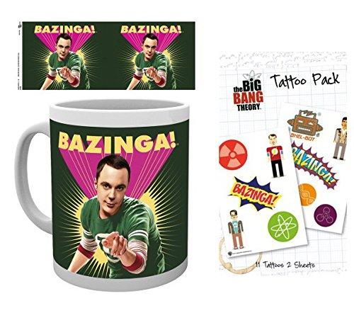 1art1 The Big Bang Theory, Sheldon Bazinga Taza Foto (9x8 cm) Y 1 The Big Bang Theory, Set De Tattoos (17x10 cm)