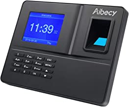 Aibecy Intelligent Biometric Fingerprint Time Attendance Machine with 3.2 Inch TFT Display Screen Battery Time Clock Fingerprint Password Employee Checking-in Recorder Reader Support USB Disk Ethernet