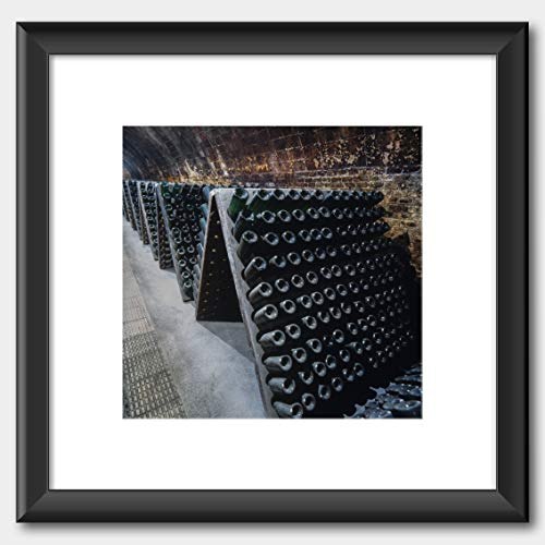 Codorniu cava bottles in Cellar. Sant Sadurni de Anoia. Print Black Frame White 40 x 40