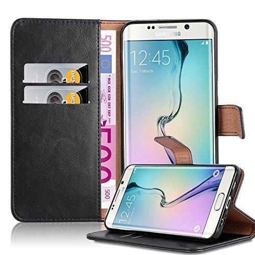 Cadorabo Custodia Libro per Samsung Galaxy S6 Edge Plus in Nero Grafite - con Vani di Carte, Funzione Stand e Chiusura Magnetica - Portafoglio Cover Case Wallet Book Etui Protezione