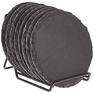 8-Pack Drink Coaster Set with Holder - Handmade Round Slate Stone Coaster for Bar Kitchen Home Decor, Black, 3.8 Inches in Diameter
