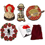 Set of Four Large Red Poppy Badges Lone Soldier Collection in Gift Box WW1 Military Present for Soldiers Veterans Lest we Forget
