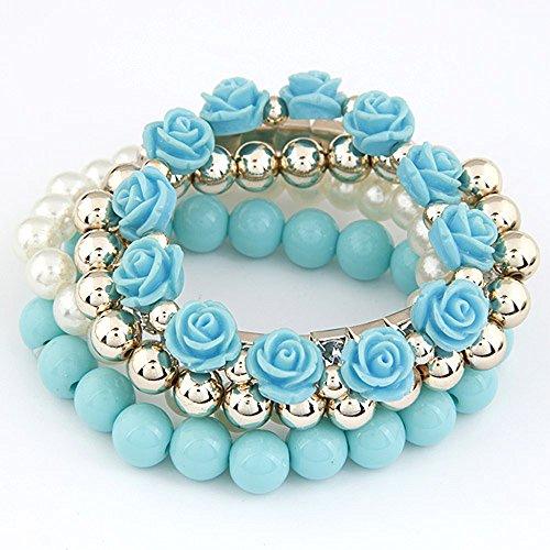 Pulsera de lujo con abalorio de rosa ¦ perla ¦ varios hilos ¦ cuenta ¦ 6 colores (azul bebé)