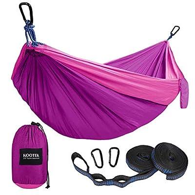 Kootek Camping Hammock Double & Single Portable Hammocks with 2 Tree Straps, Lightweight Nylon Parachute Hammocks for Backpacking, Travel, Beach, Backyard, Patio, Hiking (Violet & Pink, Large)