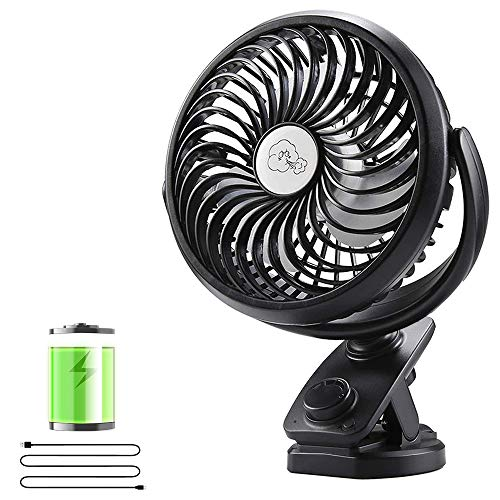 Clip on Stroller Fan, 5000mAh Battery Operated Portable Desk Fan, Max 50H, Automatic Rotation, Stepless Speed Control, Quiet USB Personal Fan, Powerful Battery Powered Clip Fan for Stroller Camping Office Home