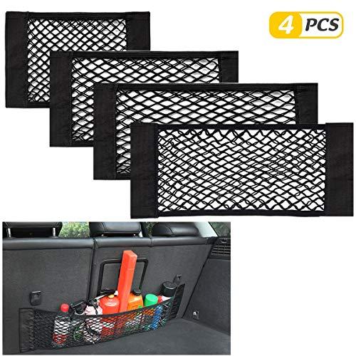 Yueser Kofferraum Netztasche, 4 Stück Kofferraum Organizer mit Starken Klettstreifen für Universal Auto Kofferraum Gepäcknetz (4 Größen)