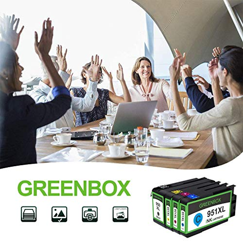 GREENBOX Compatible Ink Cartridge Replacement for HP 950XL 951XL 950 951 Used in Officejet Pro 8600 8610 8100 8620 8630 8640 8615 8625 8616 276DW 271DW 251DW(1 Black 1 Cyan 1 Magenta 1 Yellow 4 Pack) Photo #5